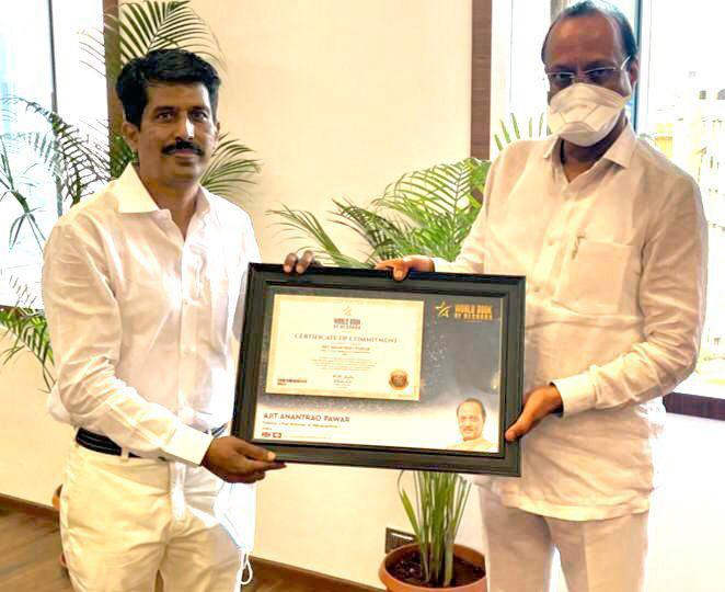 Ajit Pawar Deputy CM of Maharashtra, Gets Felicitated By Deepak Harke National Secretary WBR India with Certificate of Commitment (Switzerland)