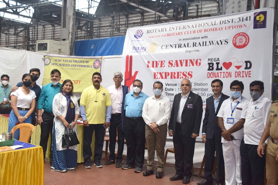Rotary Life-Saving Express Mega Blood Donation Drive across Major Rly. Stations of Mumbai